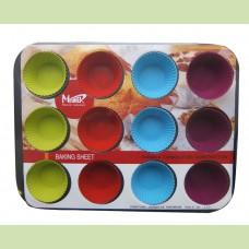 Набор: форма для пирога с антипригарным покрытием, 12 силиконовых форм для маффинов
