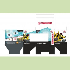 Подарочная упаковка для кружки Transformers  350 мл(бело-голубый цвет)